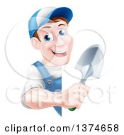 Clipart Of A Happy Middle Aged Brunette White Male Gardener In Blue Holding A Shovel Around A Sign Royalty Free Vector Illustration
