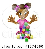 Clipart Of A Happy Black Girl Playing With Toy Blocks Royalty Free Vector Illustration