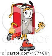 Red Book Mascot Character Roller Blading On Inline Skates
