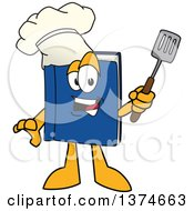 Blue Book Mascot Character Chef Wearing A Toque And Holding A Spatula