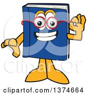 Blue Book Mascot Character Wearing Glasses