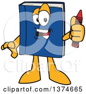 Clipart Of A Blue Book Mascot Character Holding A Crayon Royalty Free Vector Illustration