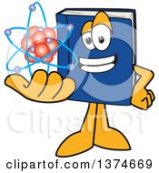 Clipart Of A Blue Book Mascot Character Holding An Atom Royalty Free Vector Illustration
