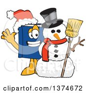 Clipart Of A Blue Book Mascot Character Wearing A Christmas Santa Hat And Waving By A Snowman Royalty Free Vector Illustration