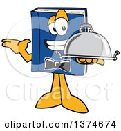 Clipart Of A Blue Book Mascot Character Waiter Holding A Cloche Platter Royalty Free Vector Illustration