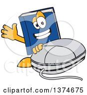 Clipart Of A Blue Book Mascot Character Waving By A Computer Mouse Royalty Free Vector Illustration
