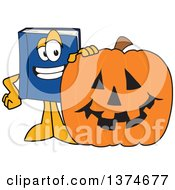 Blue Book Mascot Character With A Halloween Jackolantern Pumpkin