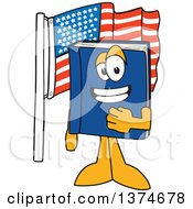 Blue Book Mascot Character Pledging Allegiance By An American Flag