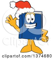 Blue Book Mascot Character Wearing A Christmas Santa Hat And Waving