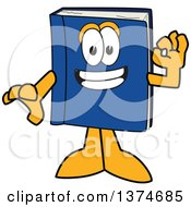 Clipart Of A Blue Book Mascot Character Gesturing Ok Royalty Free Vector Illustration by Toons4Biz
