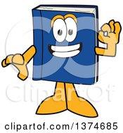 Blue Book Mascot Character Gesturing Ok
