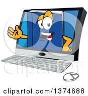 Clipart Of A Blue Book Mascot Character Emerging From A Desktop Computer Screen Royalty Free Vector Illustration by Toons4Biz