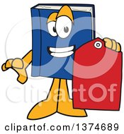 Clipart Of A Blue Book Mascot Character Holding A Sales Price Tag Royalty Free Vector Illustration by Toons4Biz