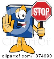 Clipart Of A Blue Book Mascot Character Gesturing And Holding A Stop Sign Royalty Free Vector Illustration