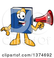 Clipart Of A Blue Book Mascot Character Announcing With A Megaphone Royalty Free Vector Illustration