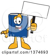 Clipart Of A Blue Book Mascot Character Holding A Blank Sign Royalty Free Vector Illustration by Toons4Biz