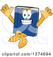 Clipart Of A Blue Book Mascot Character Jumping Royalty Free Vector Illustration by Toons4Biz