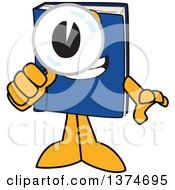 Clipart Of A Blue Book Mascot Character Searching With A Magnifying Glass Royalty Free Vector Illustration by Toons4Biz