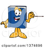 Clipart Of A Blue Book Mascot Character Holding A Pointer Stick Royalty Free Vector Illustration