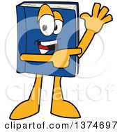 Clipart Of A Blue Book Mascot Character Waving And Pointing Royalty Free Vector Illustration