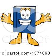 Clipart Of A Blue Book Mascot Character Wanting A Hug Royalty Free Vector Illustration