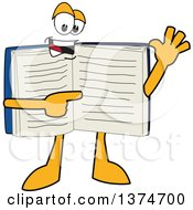Clipart Of An Open Blue Book Mascot Character Waving And Pointing At Text On A Page Royalty Free Vector Illustration