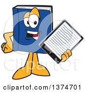 Clipart Of A Blue Book Mascot Character Holding Out An E Reader Or Tablet Computer Royalty Free Vector Illustration by Toons4Biz