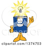 Clipart Of A Blue Book Mascot Character With A Bright Idea Royalty Free Vector Illustration