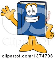 Clipart Of A Blue Book Mascot Character Waving With A Worm Emerging From The Pages Royalty Free Vector Illustration by Toons4Biz