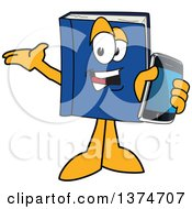 Clipart Of A Blue Book Mascot Character Presenting And Holding Out A Smart Phone Royalty Free Vector Illustration by Toons4Biz