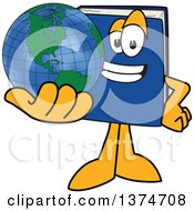 Blue Book Mascot Character Holding Out A Globe