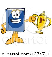 Blue Book Mascot Character Holding A First Place Trophy
