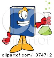 Blue Book Mascot Character Scientist Holding A Bubbly Flask
