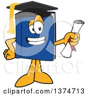 Clipart Of A Blue Book Mascot Character Graduate Holding A Diploma Royalty Free Vector Illustration