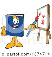 Clipart Of A Blue Book Mascot Character Painting Art On A Canvas Royalty Free Vector Illustration