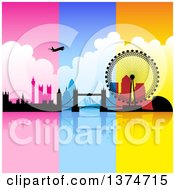 Clipart Of A Silhouetted Airplane Over London With Pink Blue And Orange Panels Royalty Free Vector Illustration by cidepix