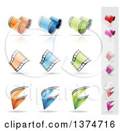 Clipart Of Colorful Film Strips And Shadows Royalty Free Vector Illustration by cidepix