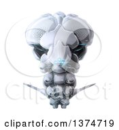 Clipart Of A 3d Futuristic Flying Bug Robot With Blue Lights Royalty Free Illustration