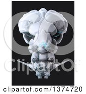 Clipart Of A 3d Futuristic Flying Bug Robot With Blue Lights On Black Royalty Free Illustration