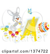 Clipart Of A Cute Gray Easter Bunny Rabbit Painting A Canvas And Eggs Royalty Free Vector Illustration