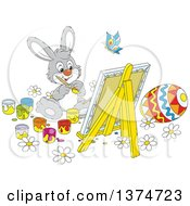Clipart Of A Cute Gray Easter Bunny Painting A Canvas And Eggs Royalty Free Vector Illustration