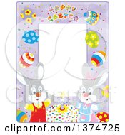 Purple Vertical Frame With Happy Easter Text Eggs And Rabbits With A Cake