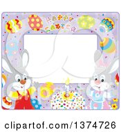 Purple Horizontal Frame With Happy Easter Text Eggs And Rabbits With A Cake