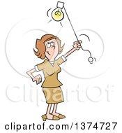 Cartoon Happy Brunette White Woman Shedding Light On A Subject