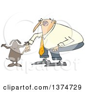 Clipart Of A Cartoon Chubby White Man Yelling At His Careless Dog Royalty Free Vector Illustration