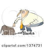 Cartoon Chubby White Man Yelling At His Happy Dog