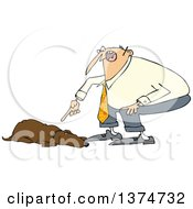 Cartoon Chubby White Man Yelling At His Lazy Hound Dog