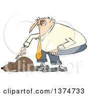 Clipart Of A Cartoon Chubby White Man Yelling At His Lazy Dog Royalty Free Vector Illustration