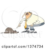 Clipart Of A Cartoon Chubby White Man Yelling At His Scared Dog Royalty Free Vector Illustration