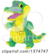 Clipart Of A Cute Baby Alligator Wearing Mardi Gras Beads Royalty Free Vector Illustration